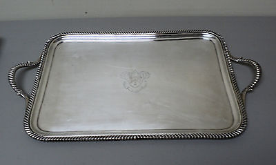 "19th C. English Old Sheffield Plate (OSP) 19"" Engraved Serving Tray"