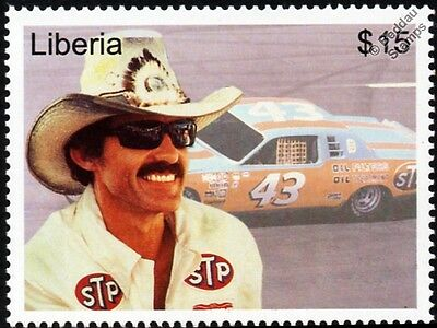Richard Petty (The King) 1978 DODGE MAGNUM NASCAR Car #43 Stamp (2001 Liberia)