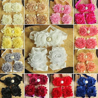 Baby Girl Crib Pram Barefoot Sandals Headband Set Christening Wedding Flower