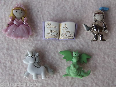 Dress It Up Buttons ~ Once Upon A Time ~ Princess ~ Knight ~ Dragon ~ Unicorn +