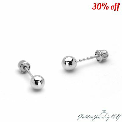 14K Pure Real White Gold Ball Stud Earrings with Screw Back from 2MM - 7MM.