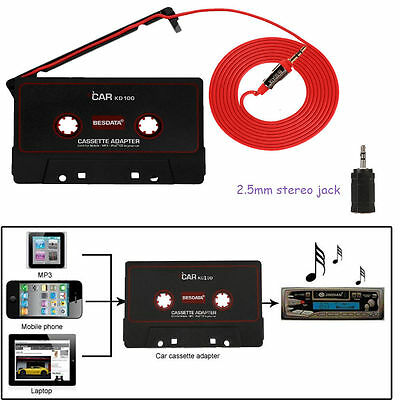 CAR CASSETTE TAPE ADAPTOR CONVERTER FOR iPHONE iPOD MP3 AUDIO 3.5mm AUX JACK