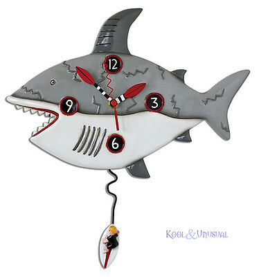 "Awesome ""Surf At Own Risk"" Shark Designer Wall Clock by Allen Designs"