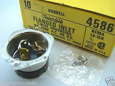 Box Of 10 Hubbell 4586 Flanged Inlet Twist-Lock NEMA L6-15R 250V 15A 3-Wire b89