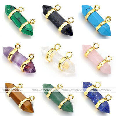 Gemstone Rock Crystal Healing Point Chakra Reiki Pendant Bead For Necklace Chain