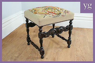 Antique French Carved Beech Tapestry Piano Dressing Window Stool Chair (c.1880)
