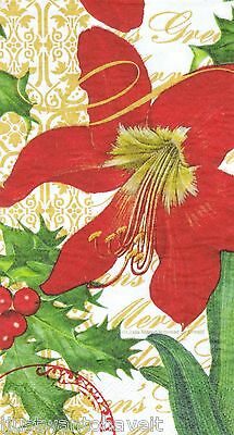 TWO (2) Red Amarylis Holiday GUEST TOWEL PAPER NAPKIN Decoupage Servietten