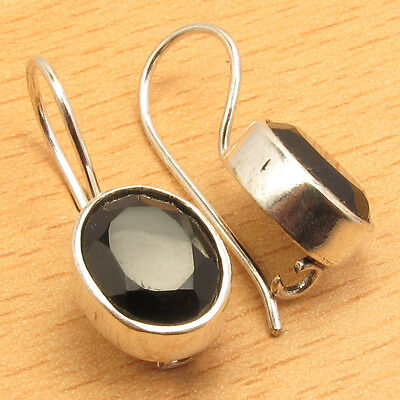 JEWEL Earrings ! Classic BLACK ONYX ! Silver Plated Over Solid Copper 7/8 Inches