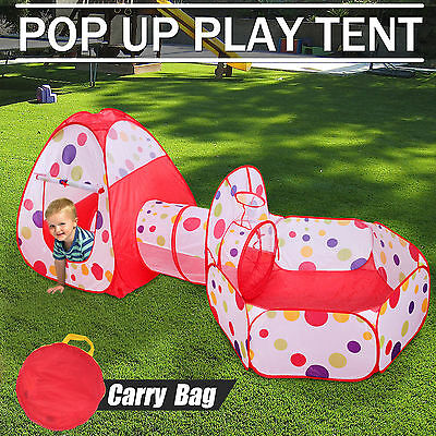 3 in 1 Play Tent  Kids Toddlers Tunnel Pop Up Cubby Playhouse Indoor Outdoor Set