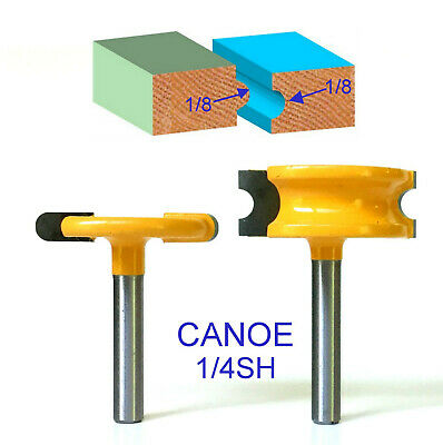"""2 pc 1/4"""" SH 1/4"""" Dia. Canoe Flute and Bead Router Bit sct-888"""