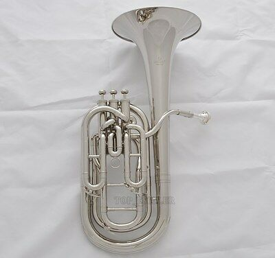 Professional Silver Nickel Plated Compensating Baritone horn Bb keys With Case