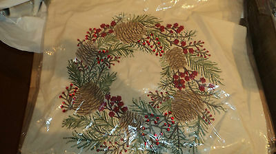 Pottery Barn Christmas Embroidered Pinecone & Berry Wreath Pillow Cover