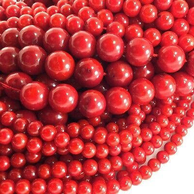 "Red Sea Coral Round Spacer Loose Beads 15"" 3mm 4mm 6mm 8mm 10mm 12mm Free Ship"