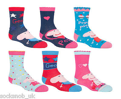 Peppa Pig - 6 Pairs of Authentic George Cotton Rich Girls Boys Socks  2-3 Years