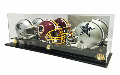 Deluxe Triple Mini Helmet Display Case With Mirror