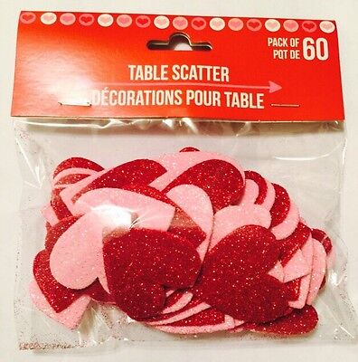 Hearts Table Scatter Decorations for Valentine's Day Party 60 Pieces, assorted