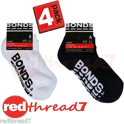 BONDS Boys Girls Kids Low Cut Logo Socks School 4 Pair Pack Navy Size RZHF4N New