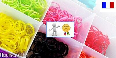 Rainbow Loom Band 800 Elastique  Noir Blanc Rouge Bleu Jaune Rose Cee Sans Latex