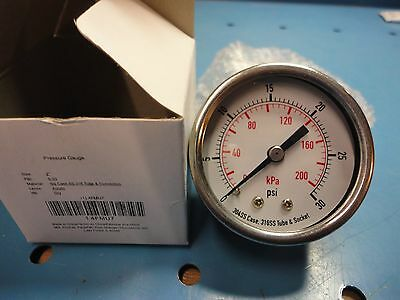 "New, Free Ship, 2"" Stainless Steel 0-30 psi  Pressure Gauge 1/4"" NPT Back Stem"