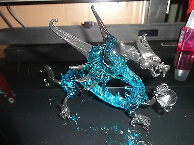 Dragon Blue Black Figurine of Blown Glass Crystal