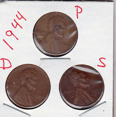 1944 P,D,and S Lincoln cents in VERY GOOD AND BETTER  condition (3 coins )stk101