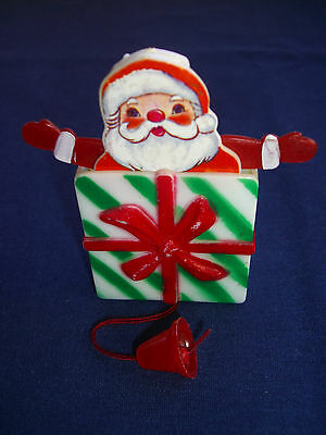 """Christmas gift Santa Pin, (Santa pops out when string is pulled) 1 5/8"""" x 1 3/4"""""""