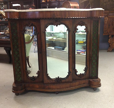 ANTIQUE, ORNATE VICTORIAN WALNUT, MARBLE TOP SIDE BAR W/ 3 MIRRORED CABINETS
