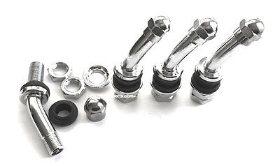 30 Degree Angle Metal/Chrome Tire Valve Stems High Pressure Bolt In 4 Pieces 506