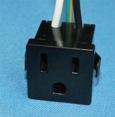 Zing Ear ZE-3B-2 Receptacle Power Plug Snap-In 3 Prong 15A 10A Black