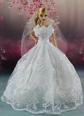 White Fashion Party Dress/Wedding Clothes/Gown+Veil For Barbie Doll AF15