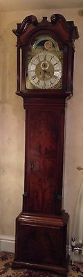 1770 Liverpool Brass Dial Rolling Moon Long case / Grandfather Clock.