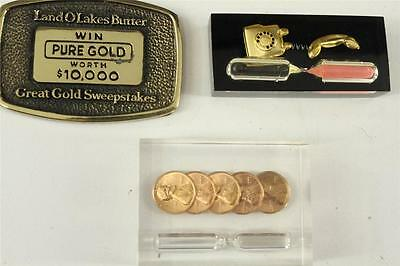 Vintage LOT Advertising Paperweight Brass Lucite Hour Glass Land O Lakes Butter