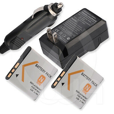 2x Battery+Charger for Sony Cyber-Shot DSC-TX5 DSC-TX55 Digital Camera Camcorder