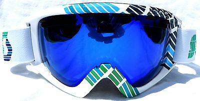 oakley ski glasses xivx  NEW $110 Scott Mens Adult Winter White Green Blue Lens Snow Goggles Smith  ski