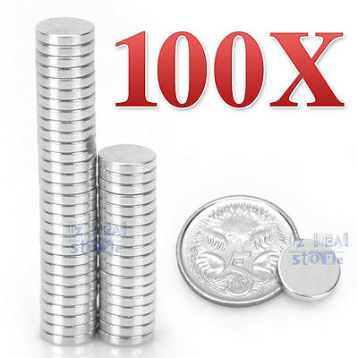 Lot 100 Pcs Strong Magnet 10mm x 2 mm Disc Cylinder Neodymium Rare Earth AU NEW