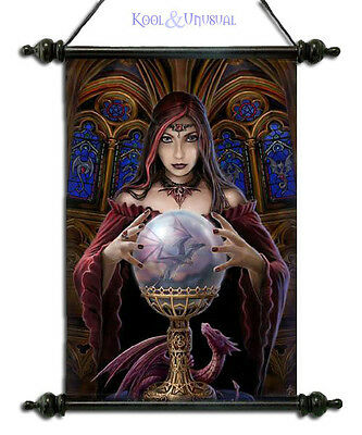 "Anne Stokes Wall Art Scroll: ""Crystal Ball"" Gothic Sorceress * Pagan Wicca"