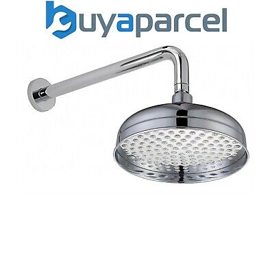 Traditional Edwardian 200mm Fixed Shower Head Rose Chrome + Concealed Wall Arm