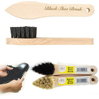 Elliott Shoe Polish Brush Long Handle Easy Brushing Small Wooden Dust Remover