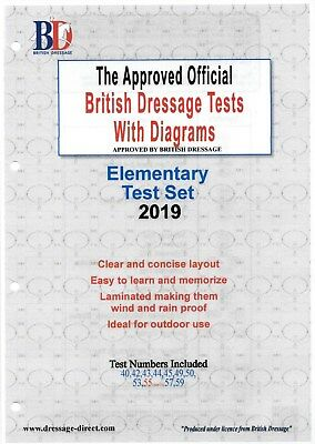 2017 / 2018 ELEMENTARY TEST SET Laminated with Diagrams BRITISH DRESSAGE Tests