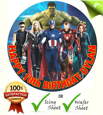 """8""""  Marvel The Avengers Edible Personalised Cake Topper A4 Icing Sheet Rice"""