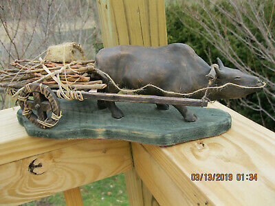 """WAGON w/ OX-Hand Crafted,Rustic-Natural Materials, 16""""L, 5""""W. 5.5""""H"""