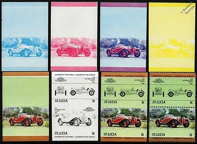 1930 ALFA ROMEO 6C 1750 Car Stamps (1984 St Lucia Progressive Proofs / Auto 100)