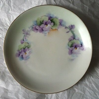 "hand Painted Violets 6 "" Coupe plate Studio"