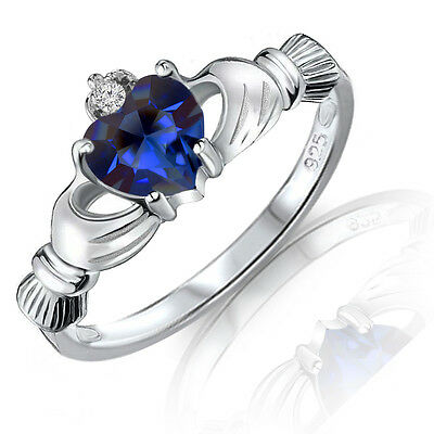 Blue Sapphire Heart Claddagh Sterling Silver Ring - 9 mm - Sizes 3 - 12