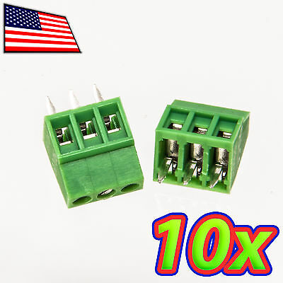 [10x] 3-Pin 2.54mm Pitch PCB Mount Screw Terminal Block Connector - Fits PCBs!