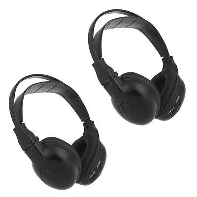 2X Infrared Wireless Headphone Headset Ir For Stereo Car Player Dvd 2-Channel Dr