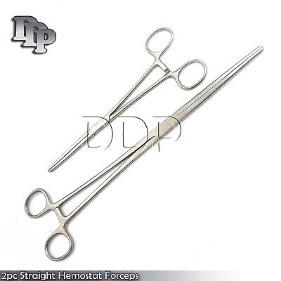 "New 2pc Set 8"" + 12"" Straight Hemostat Forceps Locking Clamps Stainless Steel"