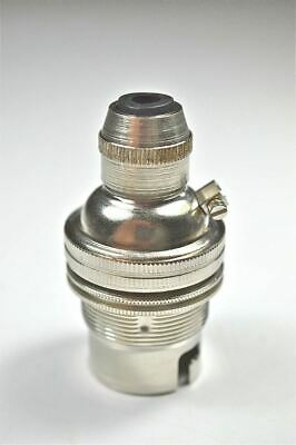 Nickel Bayonet Fitting Bulb Holder Cord Grip Lamp Holder Earthed Shade Ring Sr4