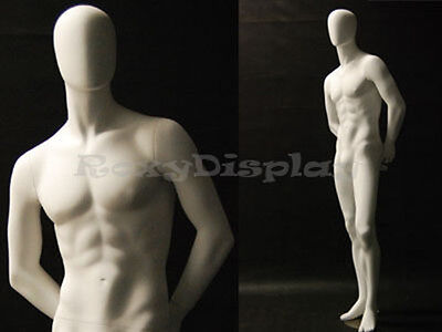 Male Fiberglass White Abstract Egg Head Mannequin Display Dress Form #MD-C29W2