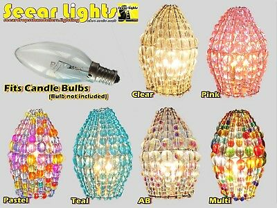 Chandelier Glass Bead Light Bulb Lamp Art Deco Candle Shade Cover Crystals Drops
